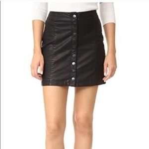 Free People - Black Leather Button Down Skirt